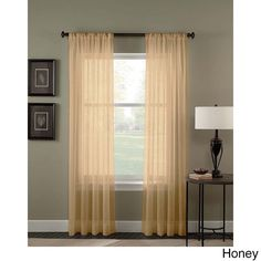 Trinity Crinkle Voile Extrawide Sheer Curtain Panel (Honey - 120 inch), Gold, Size 51 x 120 (Polyester, Solid)
