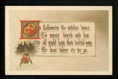 Halloween-Postcard-Gibson-GA3-7-HAND-PAINTED-JOL-witch-bat-pumpkin-Vintage