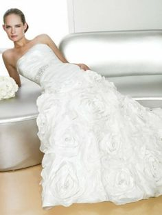Taffeta Strapless Pleated Bodice Wedding Dress