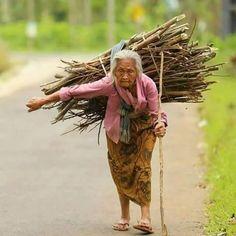 This is so sad, poor grandma must work so hard.