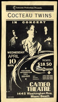 Cocteau Twins at the Cameo Theater, Miami 1990.