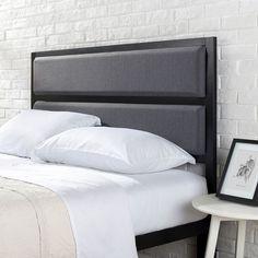 Queen Size Upholstered Metal Headboard Modern Style Bedroom Furniture Black NEW