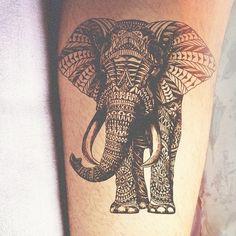 Elephant tattoo, love the detail!