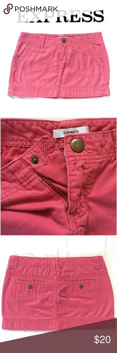 MAKE AN OFFER!  Skirt by Express Express Mini Pink Jean Skirt. Perfect everyday comfy yet cool skirt, pair it with a classic grunge t-shirt for an edgy feel!  Express Skirts Mini