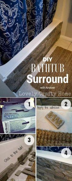 Easy to build DIY Bathrub Surround with Airstone for rustic bathroom decor @istandarddesign