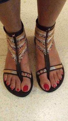 AFRICAN BEADED FLAT HANDMADE LEATHER SANDALS #Homemade #FlatSandals #Casualbeach