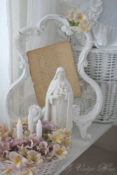 sweet, simple home altar - love the stand holding a prayer