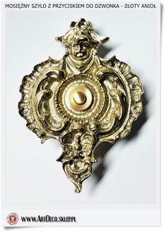 Anioł szyld do sterowania dzwonkiem Polskie rękodzieło Wyrób mosiężny