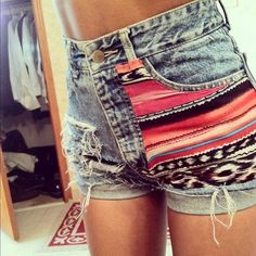 I just cut the shorts for this... But I can't find tribal fabric.