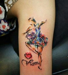 Watercolor tattoo without the heart and words love the ballerina
