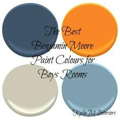 Best Benjamin Moore Paint Colours for Boys Rooms (pictured:  Hudson Bay, Citrus Orange, Revere Pewter, Whipple Blue)