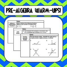 """Pre-Algebra (Middle School Math) Warm-Ups - Just """"snip"""" into your lessons, or use as entrance tickets.  Student recording sheet provided.  Super time saver!"""