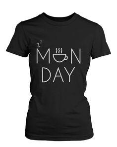 Women's Funny Black Graphic T-Shirt - Monday Graphic Design Coffee Mug
