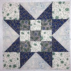 Easy Quilt Patterns | Evening Star Quilt Block with Nine Patch Centers