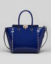 Valentino Rockstud Patent Shopper Tote Bag, Blue