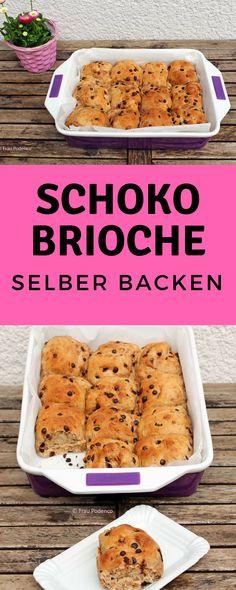 Schoko Brioche Brötchen selber backen, lecker fluffig, ein tolles Gebäck zum Frühstück. #backen #Schokobrötchen #rezept