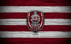 Download wallpapers CFR Cluj FC, 4k, football, Romanian Liga I, soccer, football club, Romania, SCS CFR 1907 Cluj, logo, Romanian league, wooden texture, FC CFR Cluj