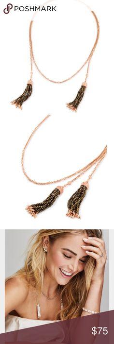Kendra Scott Monique lariat necklace Beautiful Rose Gold Kendra Scott Monique Lariat necklace with brown beaded tassels. NWOT Kendra Scott Jewelry Necklaces