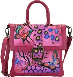 Pink Butterfly Hand-Painted Leather Satchel