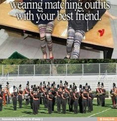 Yup... Unless she DROPS OUT OF BAND. Yes, Lily and Nicole. I'm looking at you two. Band Nerd, Band Geek Humor, Music Memes, Music Humor, Marching Band Funny, Marching Band Uniforms, Marching Band Problems, Flute Problems, Colorguard
