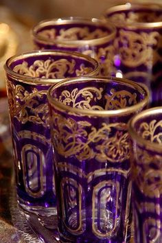 Purple and gold glasses.