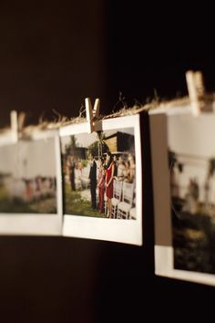 Take polaroid pictures during wedding, hang them up for guests to take