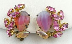 West Germany Pink Rhinestone Earrings - Garden Party Collection Vintage Jewelry