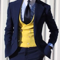 Double breasted yellow Vest by Absolute Bespoke Gentleman Mode, Gentleman Style, Dapper Gentleman, Formal Suits, Men Formal, Sharp Dressed Man, Well Dressed Men, Mens Fashion Suits, Mens Suits