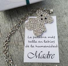 Colgante cristal y zamak, coltante osito para mama,  regalo personalizado, regalo navidad, día de la madre de mamitOregalos en Etsy