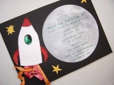Space Party Invites. Cute idea but not glitter and add DD's pic in shuttle window.