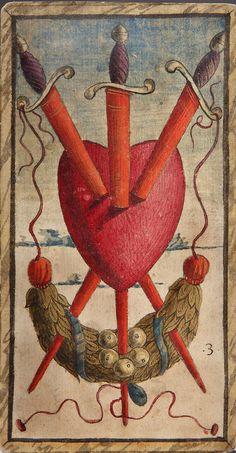 Nicola di maestro Antonio 3 di spade, 1490 ca stampa su carta pressata e incollata a formare un cartoncino, miniata a colori e oro .