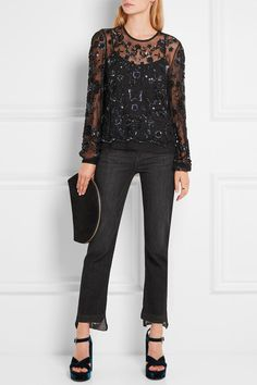 Black tulle and lace Button fastenings through back 100% nylon; trim: 100% cotton; lining: 100% polyester Dry clean Imported