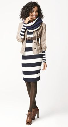 Rugby stripe dress, ripstop jacket, braided belt, and peep-toe boots. So cute for the office or out with friends.