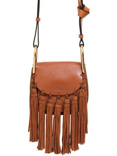 CHLOÉ - MINI HUDSON LEATHER BAG W/ SUEDE TASSELS - LUISAVIAROMA - LUXURY SHOPPING WORLDWIDE SHIPPING - FLORENCE
