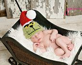 Grinch inspired Hat.  Adorable Christmas Photos.  Newborn thru 6 months available.  Excellent Photo Prop