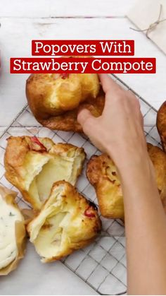 Fun Baking Recipes, Brunch Recipes, Sweet Recipes, Breakfast Recipes, Dessert Recipes, Cooking Recipes, Popover Pan, Popover Recipe, Strawberry Compote