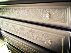Paintable wallpaper on dresser