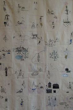 Michelle Holmes | Lady Isabell's Travel Quilt | embroidery | depicting the travels of Lady Isabella Lucy Bird; b. 1831, d. 1904