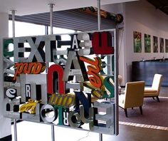 Miriello Grafico letterwall sculpture by Ron Miriello, via Behance
