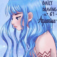 Zodiac Sign - Aquarius Art Print by sophiehei Zodiac Signs Leo Tattoo, Taurus Tattoos, Zodiac Signs Sagittarius, Zodiac Horoscope, Cancer Tattoos, Zodiac Cancer, Zodiac Tattoos, Anime Zodiac, Zodiac Art