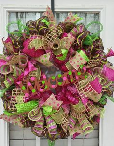 Spring Deco Mesh Wreath Everyday door wreath, WELCOME spring pink and lime green deco mesh deluxe wreath #design #etsyretwt
