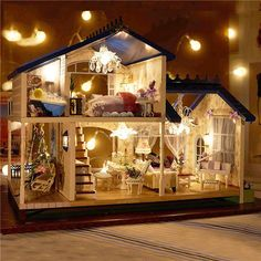 DIY Model Doll House Miniature Doll House and Furniture LED Wooden House Toy Children Handmade Crafts Wisdom House Provence Large Hand-assembled Model Birthday Gift Mini Doll House, Toy House, Barbie Doll House, Best Doll House, Doll Furniture, Dollhouse Furniture, Wooden Dollhouse Kits, Diy Dollhouse Miniatures, Cardboard Dollhouse