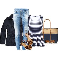All of this really works together. Wouldn't have thought to pair navy stripes w/leopard print.