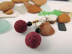 Lava Earrings Black Glass Bead Seed Bead Jewelry Statement