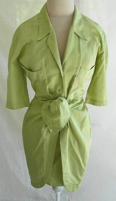 Thierry Mugler Shirt Dress Vintage Deadstock 80s NOS Tie Front Sarong Overlay  #thierrymugler