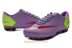 Nike Mercurial Vapor X AG Soccer Cleats Cheap Medium Purple Red Fluorescent Green