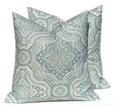 Blue Pillow. Blue Tan Pillow. Taupe Pillow. Paisley. 18x18 Throw pillow Covers Linen. Printed fabric both sides light Blue Cushion cover