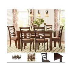 Dining-Room-Set-Furniture-Kitchen-Table-Chairs-7-Piece-Upholstered-Modern-Wood