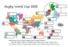 2015 Rugby World Cup - a printable map PDF to learn where the countries are