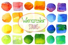 Vector bright watercolor stains | Design Bundles